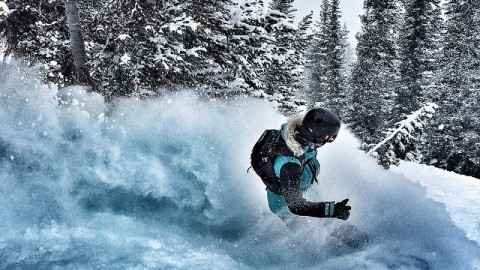 @kyehalpin gets ready for the @jhpowwow coming up next week by practicing the art of the pow slash in the @jacksonhole backcountry. #avalon7 #slashpow #liveactivated #snowboarding www.avalon7.co
