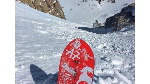 #A7Renegade @kyehalpin giving St. Patty's Day couloir #justthetip in the @jacksonhole backcountry. #A7CO #liveactivated #snowboarding www.avalon7.co