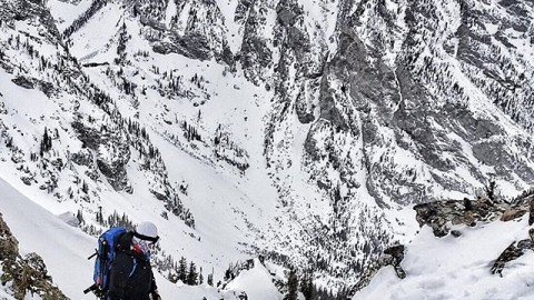 @tetonsplitboarder checking his line down Turkey Chute in the Tetons today.  Mellow split up 3200 vertical feet to the top of the drop in, and it was pow the whole way down!  #avalon7 #liveactivated #snowboarding #followthestoke #splitboarding #jhlife www.avalon7.co