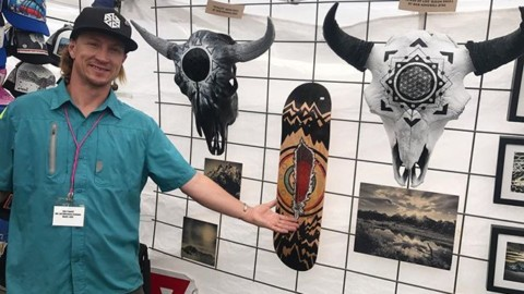 We out here! Come visit us at the artfair on the Town Square in Jackson Hole! New original bison skull at by @robkingwill, and our entire new line of FaceShields, hats and yoga pants!  @avalon7 #liveactivated #art