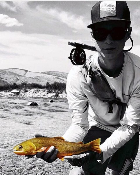 Fall is for flyfishing.  Adventurer @j_hook_flyfishing rocks our Vintage Teton SnapBack on the river while he rips some lips.  @avalon7 #liveactivated #flyfishing www.avalon7.com