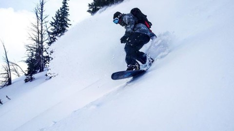@jason_ford exits the white room on Four Pines at @jacksonhole. #staystoked #snowboarding #liveactivated