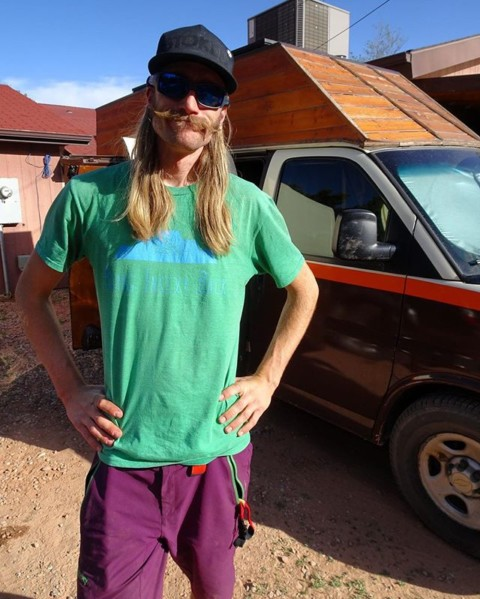 Matt from the @thebuslife knows how to stay stoked. Live in a van so you can ski and climb all the time. Grow sweet mustaches. And of course rock one of our @avalon7 STOKED snapbacks. #staystoked #liveactivated #climbing