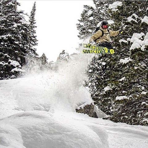 Dreaming of some airtime.  @mtlancaster finds a lil' popper. Photo @steezyweezy #seekthestoke #skiing #dreamOn www.a-7.co