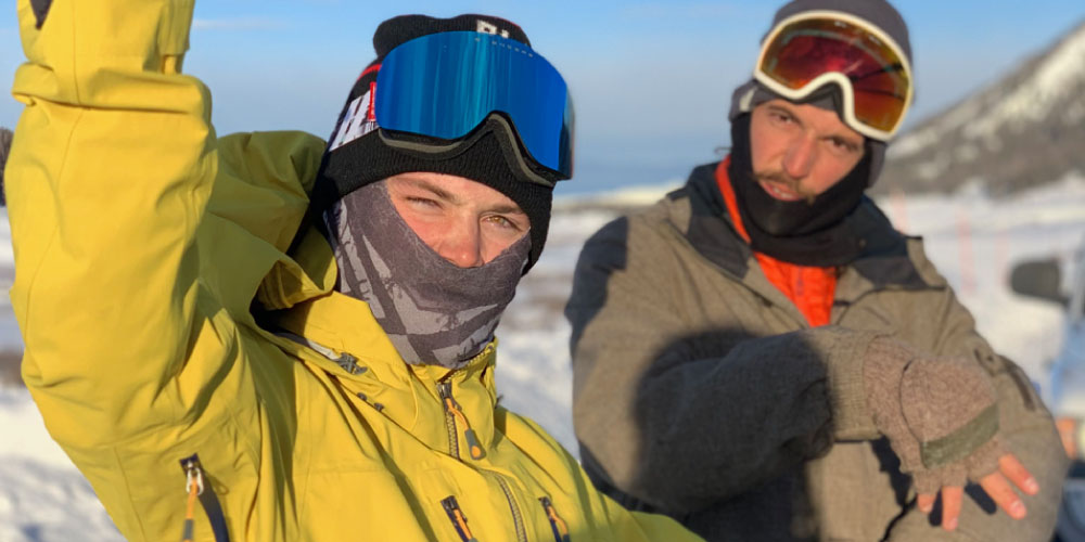AVALON7 team riders Cam and Jared staying warm one early morning in our A7 balaclavas.